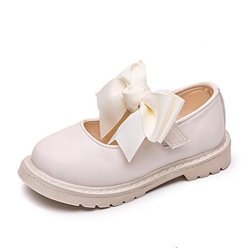 (Tantisy ♣↭♣ Baby Girls Bowknot Loafers/Fashion Chic Roman Shoes/Per Pair with Two Bows/Polka Dot and Solid White)
