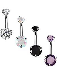 14G Surgical Steel Belly Button Rings Round Cubic Zirconia Navel Barbell Stud Body Piercing 2-6 Pcs