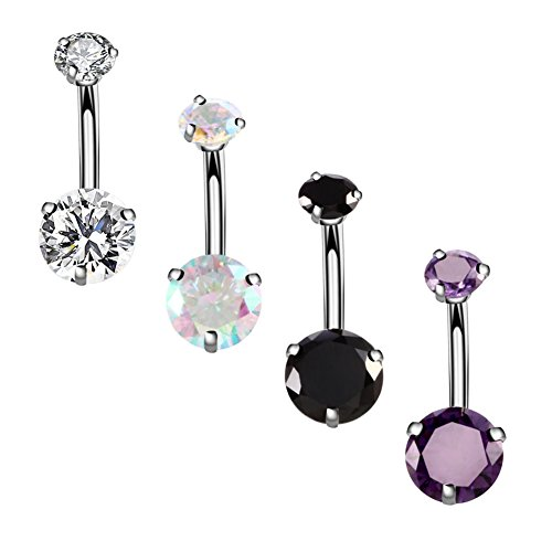 YHMM 14G Surgical Steel Belly Button Rings Round Cubic Zirconia Navel Barbell Stud Body Piercing 2-6 Pcs (4 Pcs Colorful+Clear+Black+Purple) by YHMM