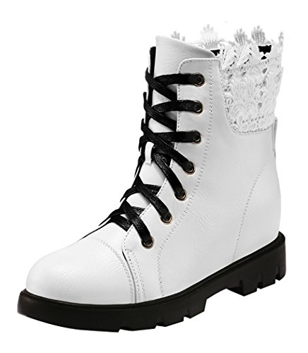 WUXING Women's Increased Within Casual High-Top Boot(8 B(M)US, white)