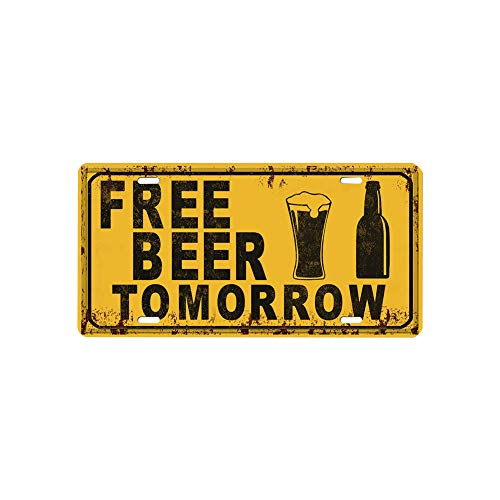 1PC Vintage Metal Tin Sign Yellow FREE BEER TOMORROW Beer Festival Bar Pub Decor Oktoberfest Iron Wall Plaque