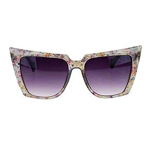 Womens Wall Paper Ditsy Flower Print Retro Oversize Cat Eye Sunglasses Grey
