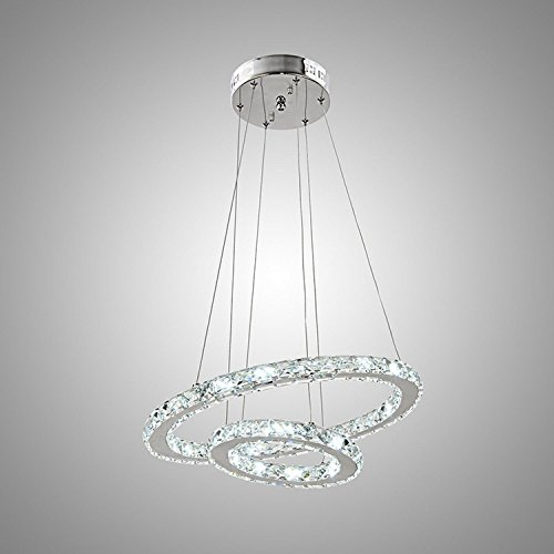 Lightinthebox Modern Crystal Cool White LED Pendant Light With 2 Unique Ring Chrome Finish Rustic/Lodge / Tiffany / Vintage / Retro / Country / Island Crystal / LED Electroplated Metal