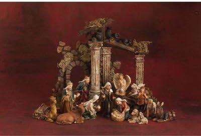 Nativity Scene With Creche 9 x 7 Resin Stone Christmas Figurine Set of 13