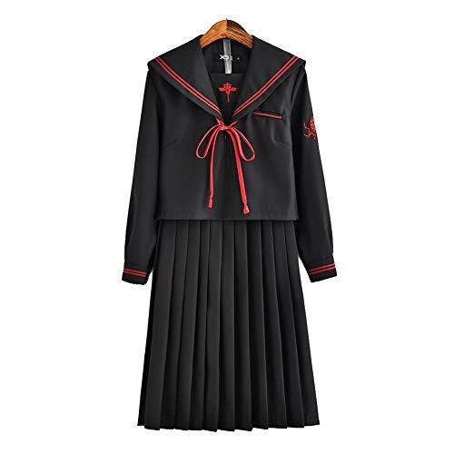 Japanese School JK Uniform Cosplay, Women Girls Halloween Anime Sailor Costume Outfits black]()
