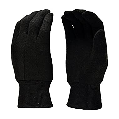 G & F 4408 Heavy Weight 9OZ. Brown Jersey Work Gloves, Knit Wrist, Sold by Dozen (12-Pairs) - Large