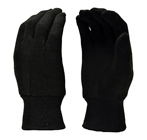 Walter Cotton Gloves (G & F 4408 Heavy Weight 9OZ. Brown Jersey Work Gloves, Knit Wrist, Sold by Dozen (12-Pairs) -)