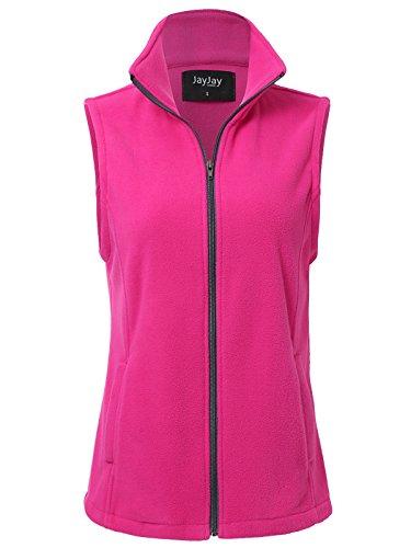 JayJay Women Ultra Soft Breathable Full-Zip Fleece Vest Jacket,Fuchsia,L