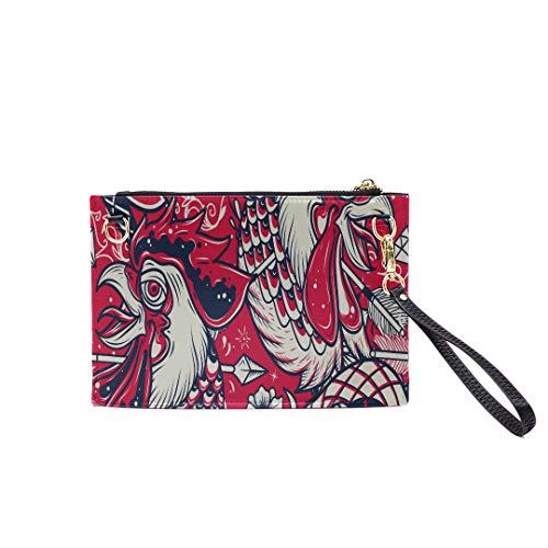 Handbag Shoulder Bags Envelope Clutch Old School Snake Rooster Head Tattoo Clutch Purse For Women Wrist Leather Zipper Crossbody Bag Satchel Purse With Detachable Shoulder &wrist Straps