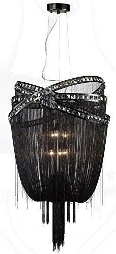 Avenue Lighting HF1609-BLK Wilshire BLVD. Collection Black Steel Chain FOYEAR Fixture Hanging Chandelier