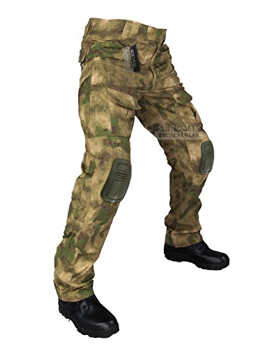 ZAPT Tactical Pants with Knee Pads Airsoft Camping Hiking Hunting BDU Ripstop Combat Pants 13 kinds Army Camo Uniform Military Trousers (A-TACS FG, XL38)
