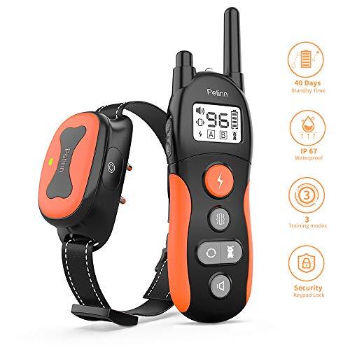 PetInn Dog Shock Training Collar, 3 Training Modes Beep Vibration and 0~99 Electric Shock Adjust Levels, Long Standby…