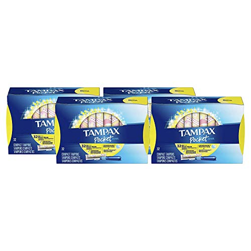 TAMPAX Pocket Pearl, Regular, Plastic Tampons, Unscented, 128 Count  (Packaging May ()