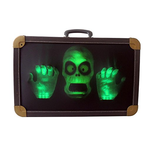 Home Accents Holiday Spooky Fun Halloween Charm 18 in. Animated Haunted Vintage Inspired Suitcase features Glowing Face and Hands when Activated by Light Sensor or Button -