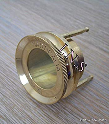 Vintage Antique Style Brass Chart Map Glass Magnifying Desk Lens Magnifier