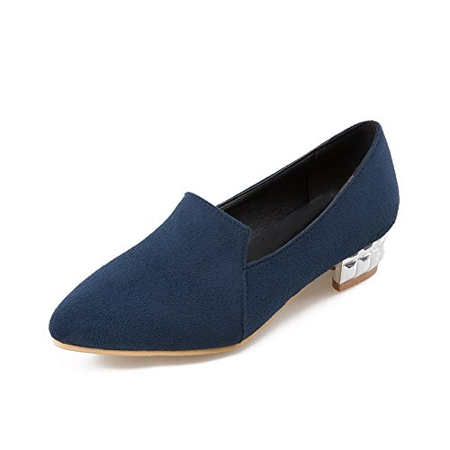 (BalaMasa Womens Square Heels Solid Pull-On Blue Imitated Suede Pumps-Shoes - 8 B(M) US)