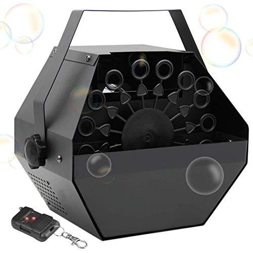 ATDAWN Portable Bubble Machine, Professional Automatic Bubble Maker with High Output for Outdoor/Indoor Use, Wireless Remote Control (Black)
