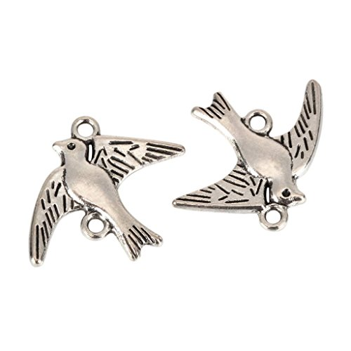 10 x Dove Freedom Charms 22x16mm Antique Silver Tone for Bracelets Necklace Earrings #MCZ304