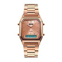 Tpfocus Men Multi-function Square Dial Stainless Steel Band Analog Digital Wrist Watch Rose Gold