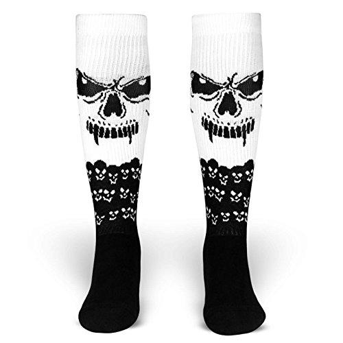 The Hidden | Socken von ROCKASOX | Weiß, Schwarz | Augen und Schädel | kniehoch | Unisex Strümpfe