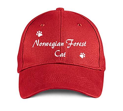 (Norwegian Forest CAT Dog Cat Puppy Hat Baseball Cap Headwear Red )