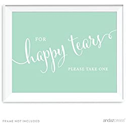 Andaz Press Wedding Party Signs, Mint Green, 8.5x11-inch, For Happy Tears Tissue Kleenex Ceremony Sign, 1-Pack
