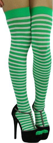 ToBeInStyle Women's Striped Two Tone Thigh Hi Stockings - One Size - White W/Kelly Green Stripes