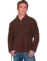 Men's Fringed Boar Suede Leather Shirt - 5-86