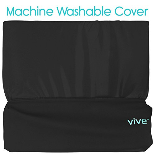 Wheelchair Cushion by Vive - Gel Seat Pad for Coccyx, Back Support, Sciatica & Tailbone Pain Relief - Waterproof Cover + 4 Layer Foam Support and Comfort - For Pressure Sores and Ulcers (18'' x 16'') by VIVE (Image #6)