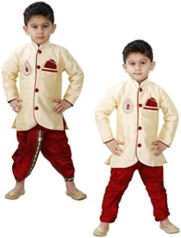 jbn creation Baby Boys' Indo Western With Dhoti And Breeches Combo Set Of Three
