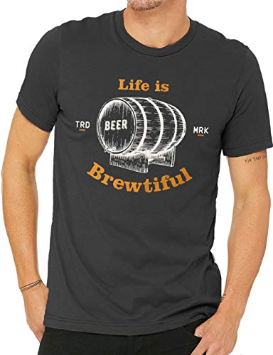 (10oz apparel Life is Brewtiful Craft Beer t Shirt - Tailored fit Beer Funny Brewing T-Shirt for Men - Craft Beer Gifts (L, Vintage Black))