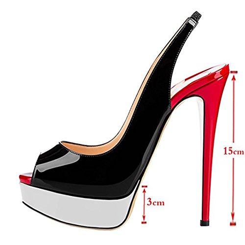 Chris-T Womens Fashion Slingback Thin High Heels Platform Pumps Black&white hMUZA4rGv3