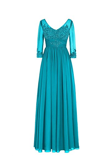SDRESS Women's Sequins Lace Appliques Half Sleeve V-Neck Mother of The Bride Dress Jade Size 26
