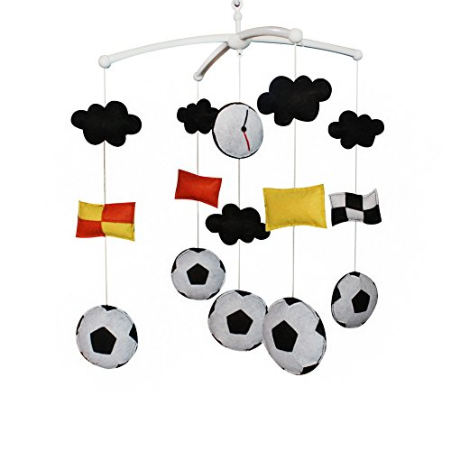 Handmade Crib Mobile with Football, Music Bed Bell, Beautiful - Mobile Football Baby