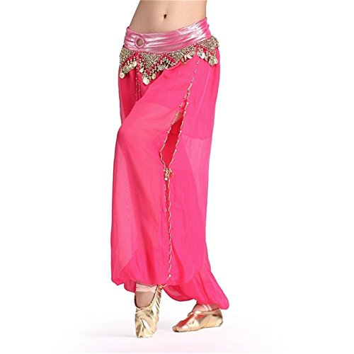 [Belly Dance Costume Set Sleeve Squins Top&Bloomers dark pink] (Dance Fans Costumes Accessories)