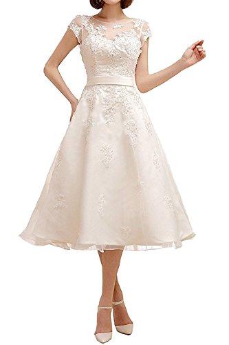 Applikation Elegant Band Hochzeitskleider Brautmode Damen Brautkleider Kurz Spitze mit Aiyana Weiß Wadenlang FvwUqf5x