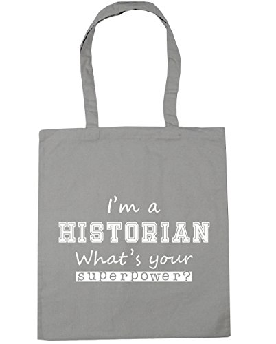 Beach A HippoWarehouse 42cm litres Grey Superpower I'm Gym Historian What's 10 Your x38cm Shopping Tote Bag Light S5z5qw