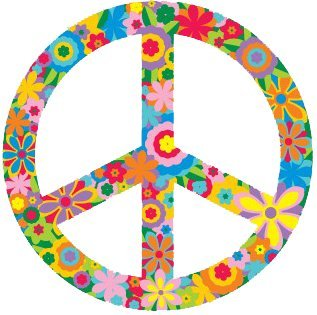 Flower Peace Sign Symbol Hippie Peace Anti War Bumper Sticker Decal 3 Circular