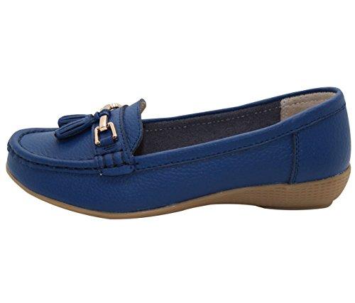 Jo & Joe Damenschuhe aus Leder, flache lässige Damenslipper, bequeme Schuhe mit niedrigem Keilabsatz, Arbeitsschuhe Kobaltblau