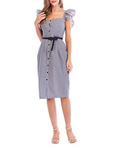 NALATI Womens Vintage Summer Button Down Gingham Sheath Dress with Belt (M(US 8-10), Blue) ()