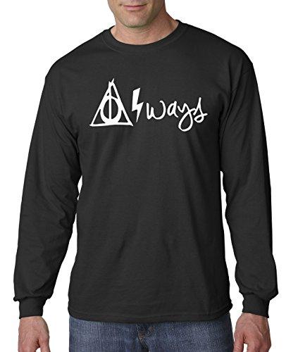 (New Way 837 - Unisex Long-Sleeve T-Shirt Harry Potter Always Hallows Lightning Bolt Small)