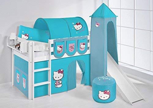 Türkis LiloEnfants Lit mezzanine JELLE Hello Kitty violets - lit d'enfant blanc toboggan, tour rideau - lit 90x200 cm