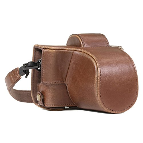 MegaGear MG918 Olympus PEN E-PL8 Ever Ready Leather Camera Case and Strap - Dark Brown