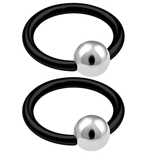 2pcs captive hoop forward helix hoop nose lip septum tragus eyebrow cartilage rook BKAX steel ball closure ring (Steel Ball Closure Ring)