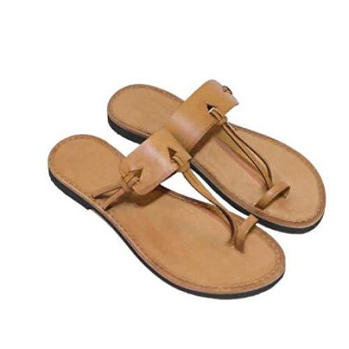 - Women's Vintage Flat Flip Flops Slip On Low Heels Thong Nonslip Casual Beach Toe Ring Slide Sandals Yellow