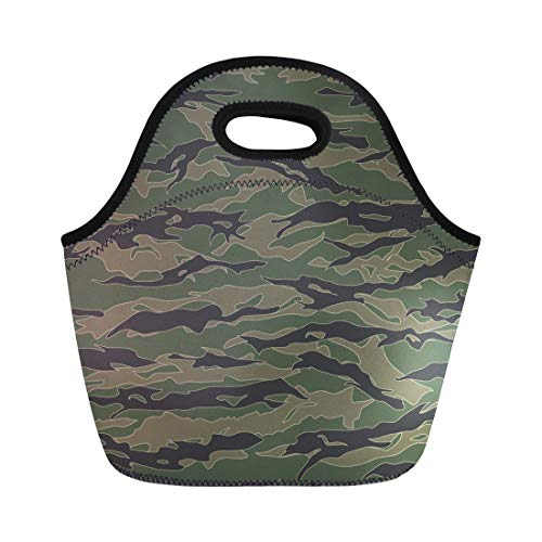 Semtomn Neoprene Lunch Tote Bag Green Camo Classic Tiger Stripe Camouflage Patterns Khaki Airforce Reusable Cooler Bags Insulated Thermal Picnic Handbag for Travel,School,Outdoors,Work