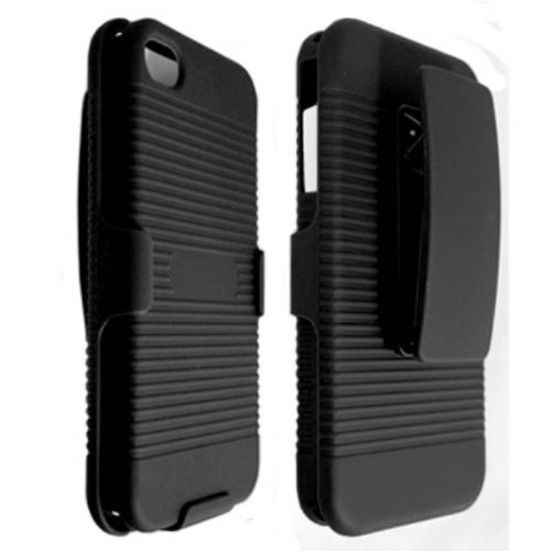 Qtech DHCIP4BK Rubberized Ribbed Texture Shell and Holster with Fixed Ratching Belt Clip for Apple iPhone 4/4S - 1 Pack - Carrying Case - Retail Packaging - Black (Iphone 4 Case With Clip compare prices)