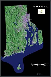 """Rhode Island from space satellite map, print, poster, photo: 24"""" x 36"""" Glossy"""