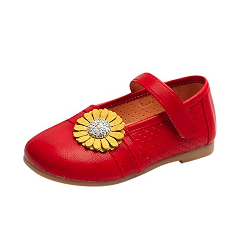 Hunpta Baby Fashion Kleinkind Kinder Floral Ballerina Prinzessin Casual Flache Schuhe Rot