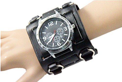 02 Hot Selling Big Black Hip-hop Gothic Punk Style Men Watch 7.5cm Wide Leather Cuff Watch Fashion Watch so Luxury